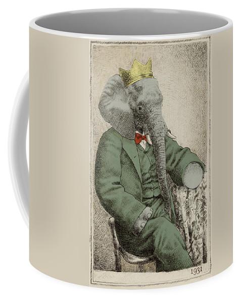 Elephant Coffee Mug featuring the drawing Royal Portrait by Eric Fan