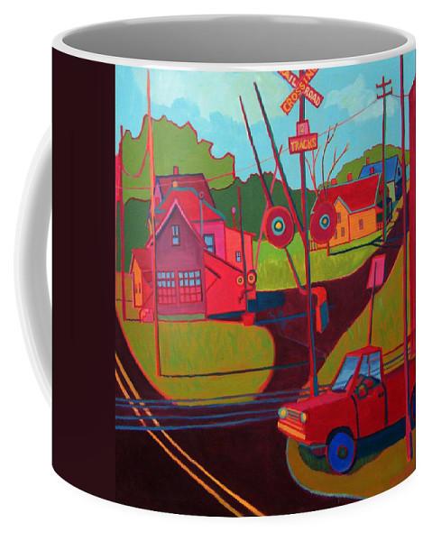 Landscape Coffee Mug featuring the painting RR Crossing by Debra Bretton Robinson