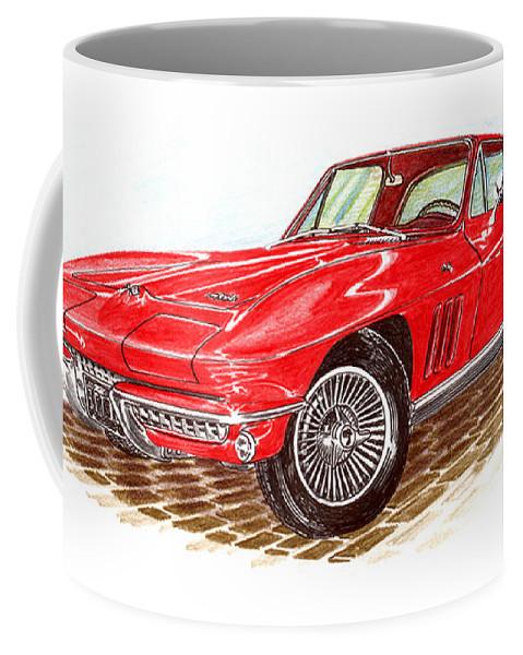 Red 1966 Corvette Stingray Fastback Coffee Mug featuring the drawing Ruby Red 1966 Corvette Stingray Fastback by Jack Pumphrey