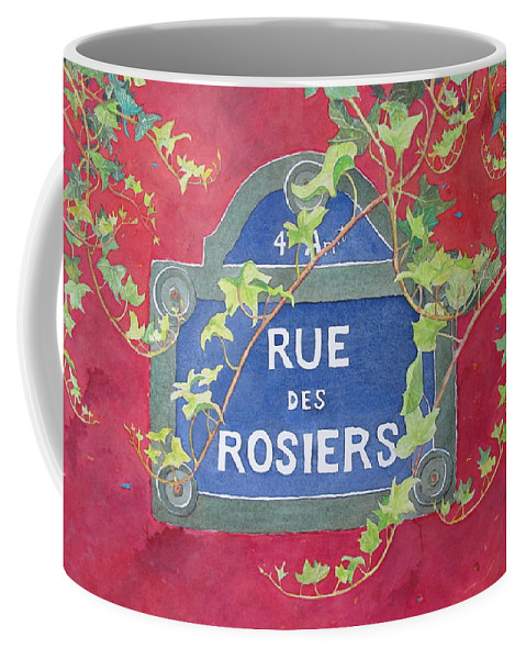 Red Wall Coffee Mug featuring the painting Rue Des Rosiers In Paris by Mary Ellen Mueller Legault