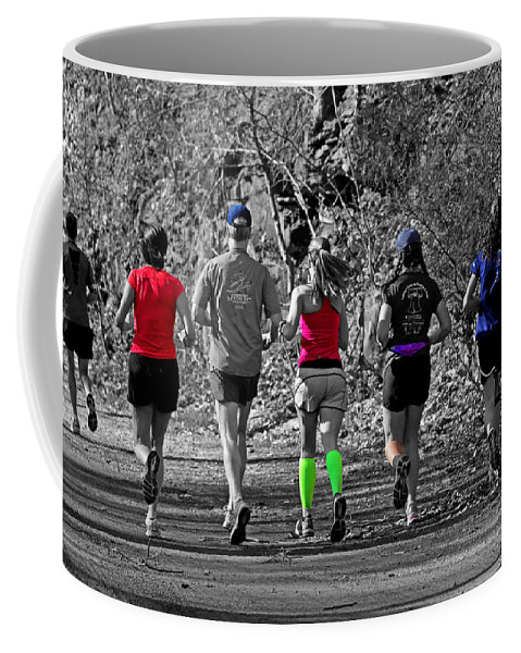 Joggers Coffee Mug featuring the photograph Run In The Park by Tom Gari Gallery-Three-Photography