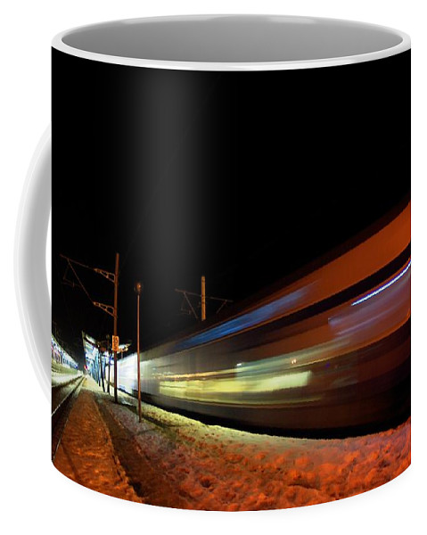 Train Coffee Mug featuring the photograph Runaway Train by Amalia Suruceanu