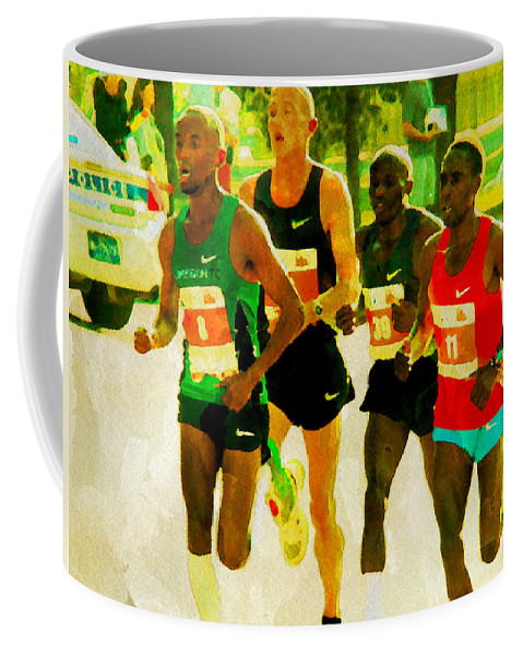 Runners Coffee Mug featuring the photograph Runners by Alice Gipson