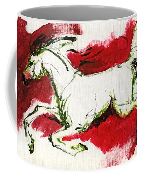 Horse Coffee Mug featuring the painting Running by Angel Ciesniarska