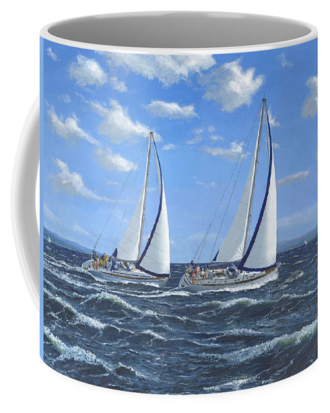 Landscape Coffee Mug featuring the painting Running Close Hauled by Richard Harpum
