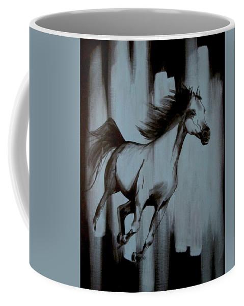 Running Horse Coffee Mug featuring the painting Running Wild by Konni Jensen