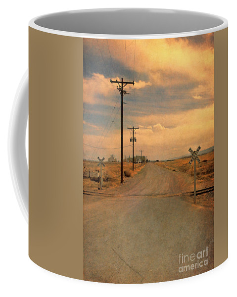 Road Coffee Mug featuring the photograph Rural Railroad Crossing by Jill Battaglia