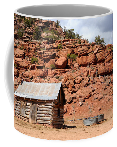Sandstone Coffee Mug featuring the photograph Rural Ranch Cabin During Desert Storm by Gary Whitton