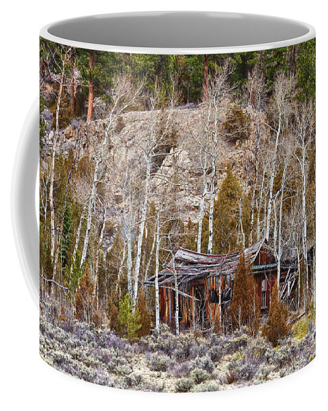 Cabin Coffee Mug featuring the photograph Rural Rustic Rundown Rocky Mountain Cabin by James BO Insogna