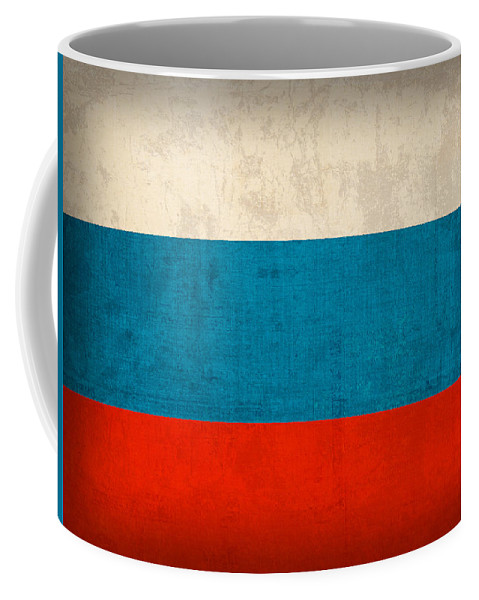 Russia Flag Vintage Distressed Finish Coffee Mug featuring the mixed media Russia Flag Vintage Distressed Finish by Design Turnpike