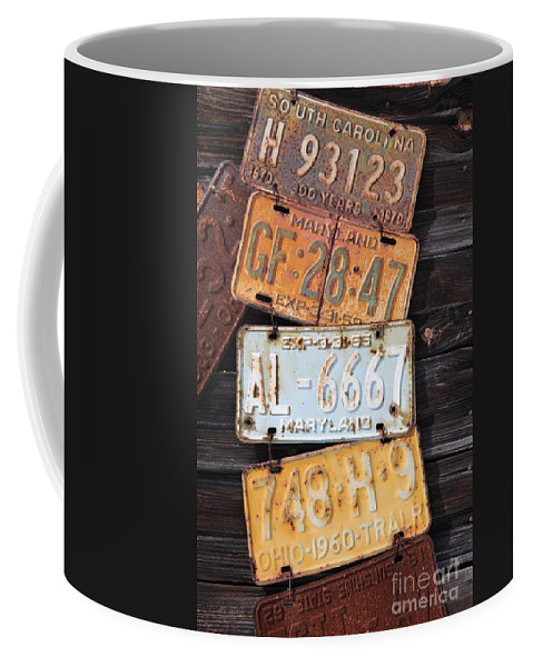Rusted Coffee Mug featuring the photograph Rusted Plates by Diane Greco-Lesser