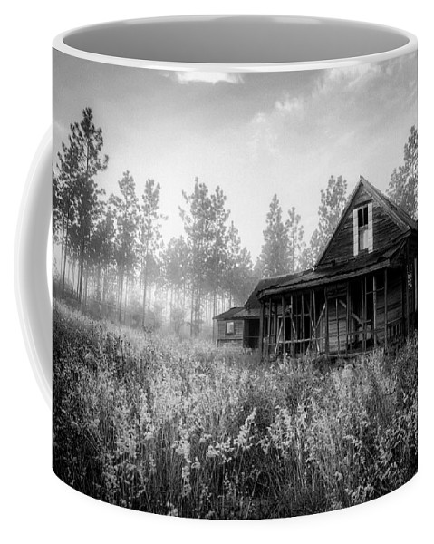 Florida Coffee Mug featuring the photograph Rustic Historic Woodlea House - Black And White by Steven Hlavac