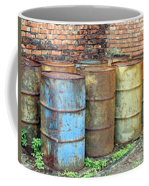 Drum Coffee Mug featuring the photograph Rusting Oil Barrels by Yali Shi