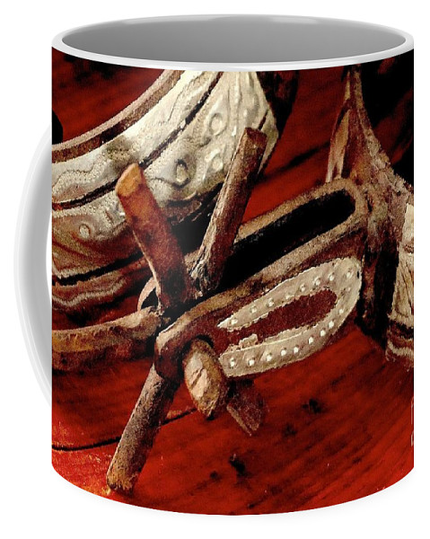 Antique Spurs Coffee Mug featuring the photograph Rusty Old Spurs by Angela Koehler