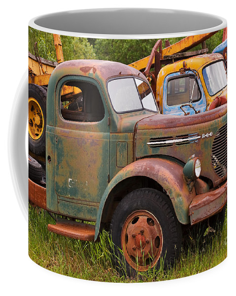 Truck Coffee Mug featuring the photograph Rusty Old Trucks by Louise Heusinkveld