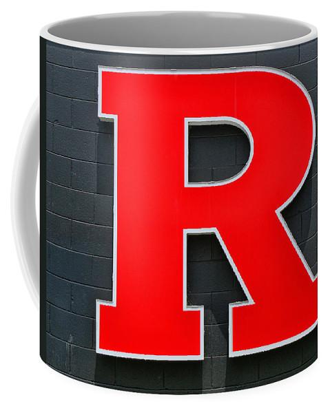 Rutgers Block R Coffee Mug featuring the photograph Rutgers Block R by Allen Beatty