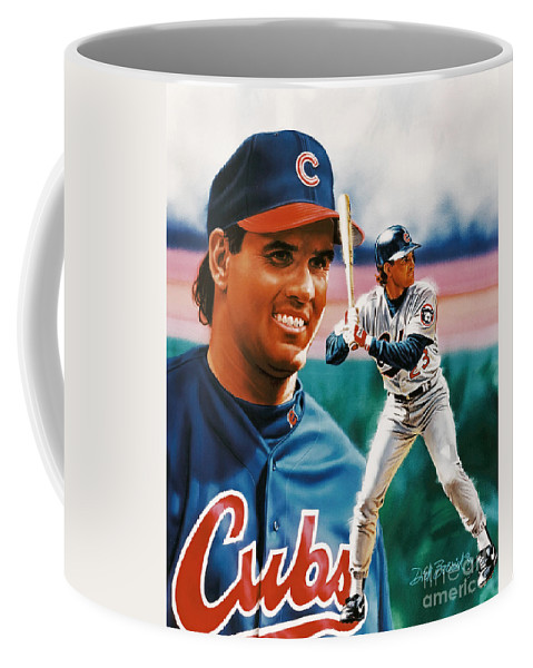 Portrait Coffee Mug featuring the painting Ryne Sandberg by Dick Bobnick
