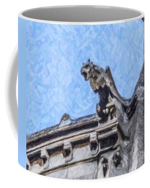 Gargoyle Coffee Mug featuring the digital art Sacre Coeur Gargoyle by Liz Leyden