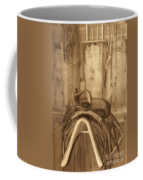 Saddle Coffee Mug featuring the photograph Saddle by Brandi Maher