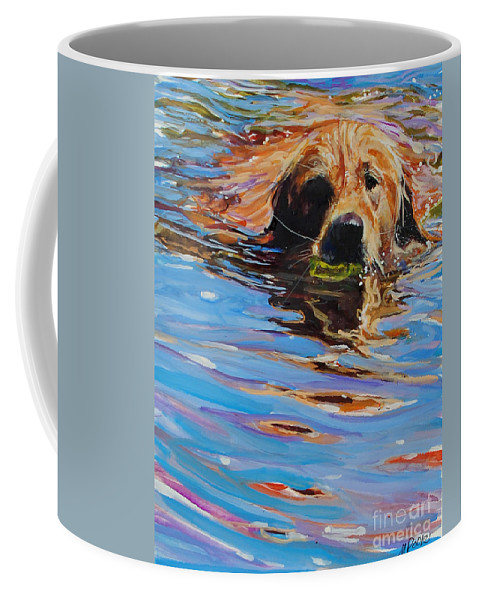 Golden Retriever Coffee Mug featuring the painting Sadie Has A Ball by Molly Poole