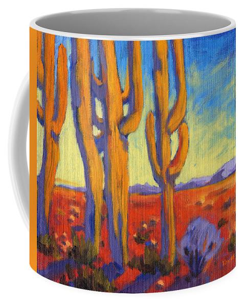 Arizona Coffee Mug featuring the painting Desert Keepers by Konnie Kim