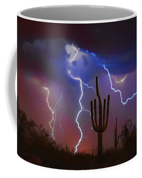 Saguaro Coffee Mug featuring the photograph Saguaro Lightning Nature Fine Art Photograph by James BO Insogna