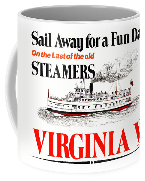Jack Pumphrey's Ink Drawing Of The Launch Poster Of The Steamship Virginia V Coffee Mug featuring the drawing Sail Away For A Fun Day by Jack Pumphrey