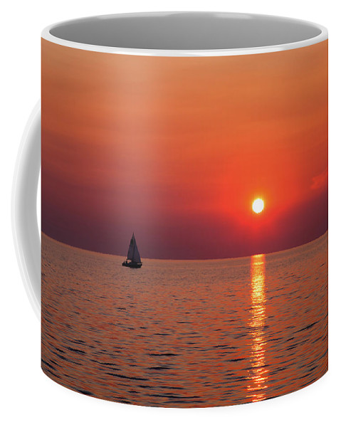 Sunset Coffee Mug featuring the photograph Sail Away With Me by Brian Boudreau
