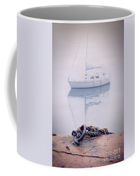 Boat Coffee Mug featuring the photograph Sailboat In Fog by Jill Battaglia