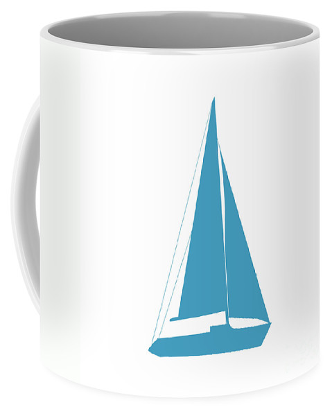Graphic Art Coffee Mug featuring the photograph Sailboat In White And Turquoise by Jackie Farnsworth