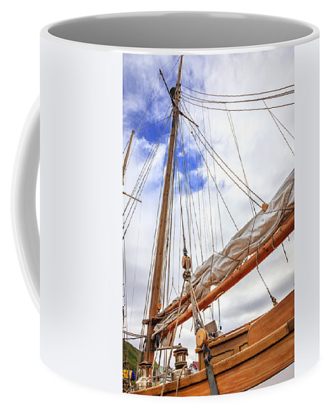 Boat Coffee Mug featuring the photograph Sailboat Rigging by Alexey Stiop