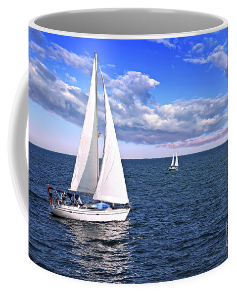 Boat Coffee Mug featuring the photograph Sailboats At Sea by Elena Elisseeva