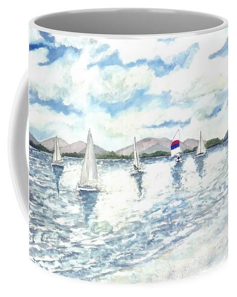 Sailboats Coffee Mug featuring the painting Sailboats by Derek Mccrea