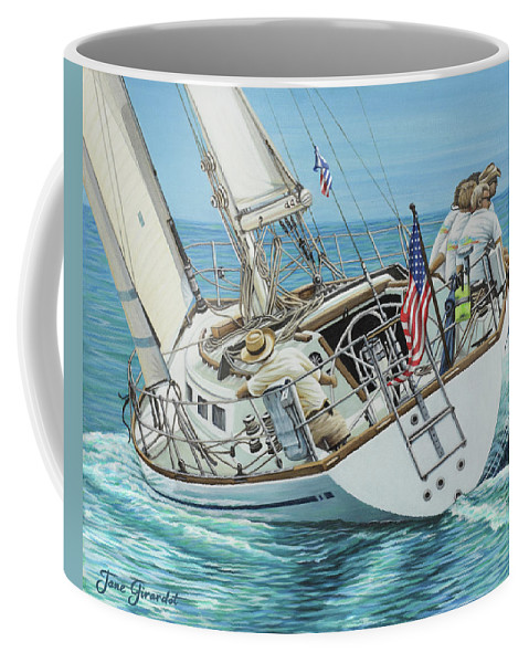Ocean Coffee Mug featuring the painting Sailing Away by Jane Girardot