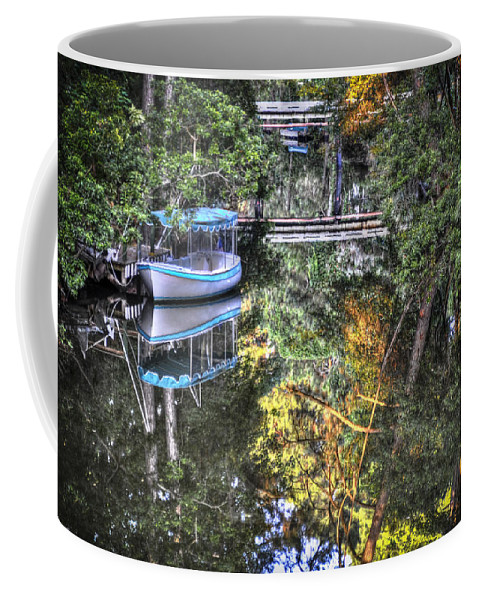 Boat Coffee Mug featuring the photograph Sailing Down The River by Deborah Klubertanz