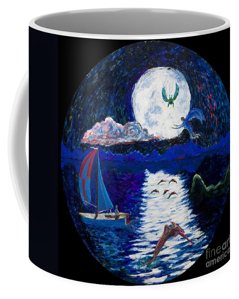 Sailing Coffee Mug featuring the painting Sailing In The Moonlight by Walt Brodis