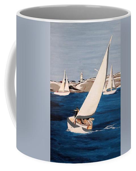 Sailing Coffee Mug featuring the painting Sailing On San Francisco Bay by Vinita C