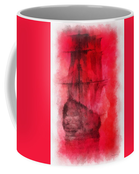 Nautical Coffee Mug featuring the photograph Sailor Take Warning Photo Art 01 by Thomas Woolworth