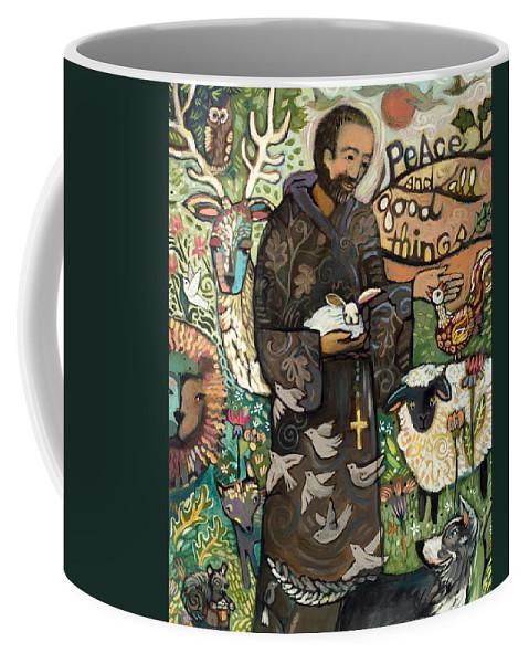 Jen Norton Coffee Mug featuring the painting Saint Francis by Jen Norton