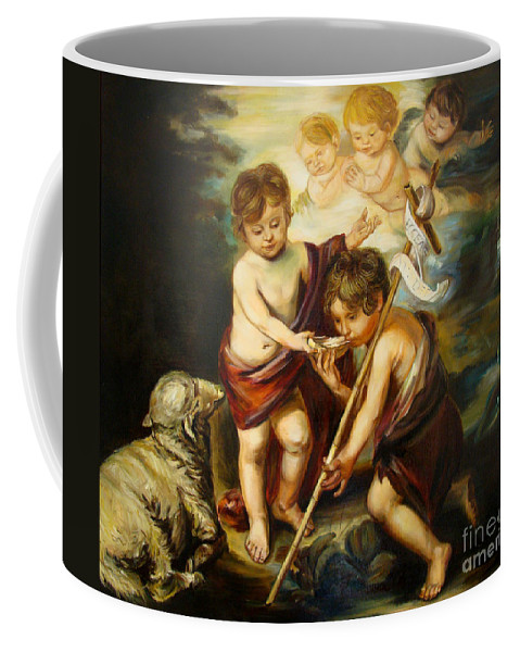 Classic Art Coffee Mug featuring the painting Saint John Baptist by Silvana Abel