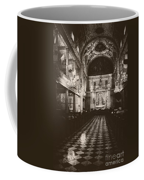 Church Coffee Mug featuring the photograph Saint Louis Cathedral New Orleans Black And White by Kathleen K Parker