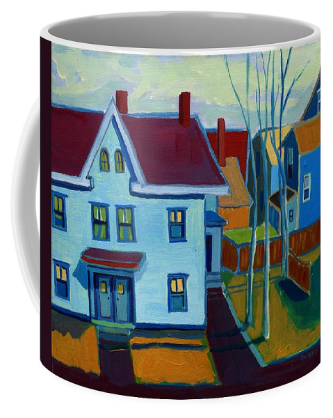 City Scene Coffee Mug featuring the painting Saints Memorial View by Debra Bretton Robinson