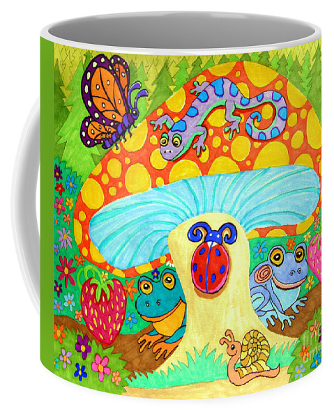 Salamander Coffee Mug featuring the drawing Salamander And Friends by Nick Gustafson