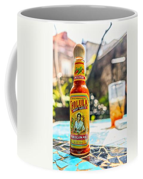 Hot Sauce Coffee Mug featuring the photograph Salsa Caliente by Sennie Pierson