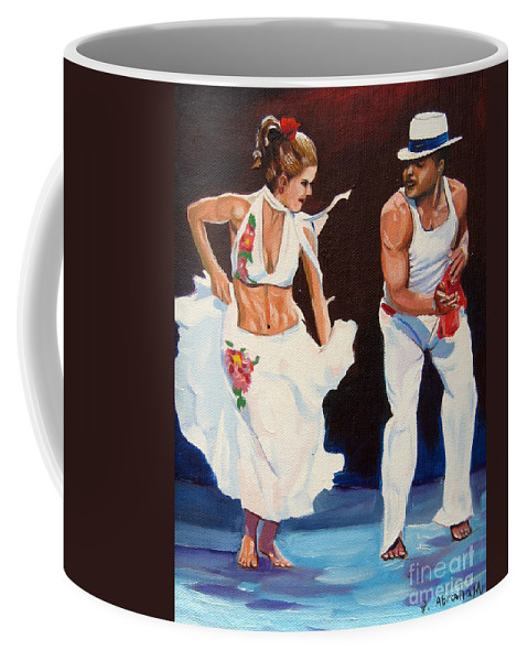 Dancing Coffee Mug featuring the painting Salsa by Jose Manuel Abraham