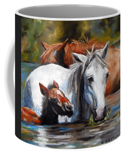 Horse Art Coffee Mug featuring the pastel Salt River Foal by Karen Kennedy Chatham