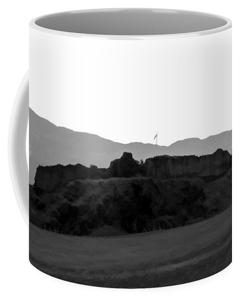 Blue Sky Coffee Mug featuring the digital art Saltire And The Ruins Of The Urquhart Castle by Ashish Agarwal