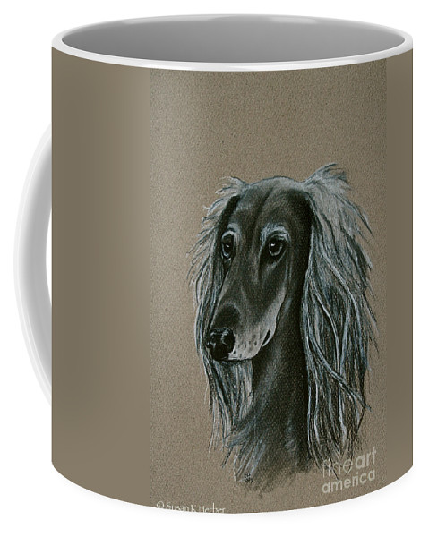 Hound Coffee Mug featuring the drawing Saluki by Susan Herber