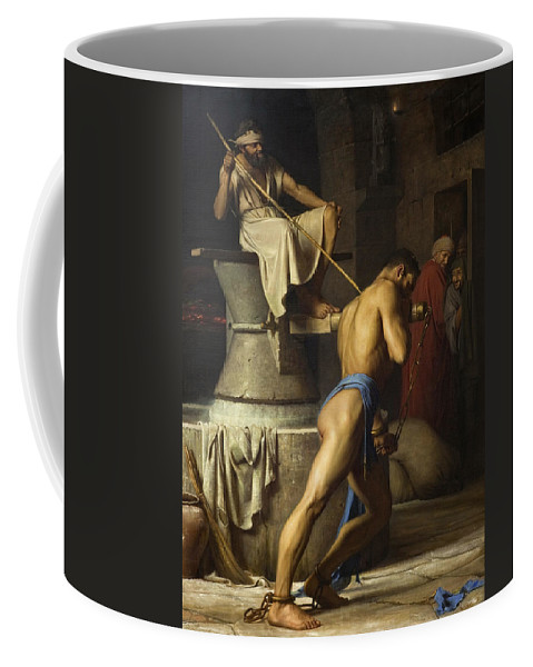 Carl Bloch Samson And The Philistines Coffee Mug featuring the painting Samson And The Philistines by Carl Bloch