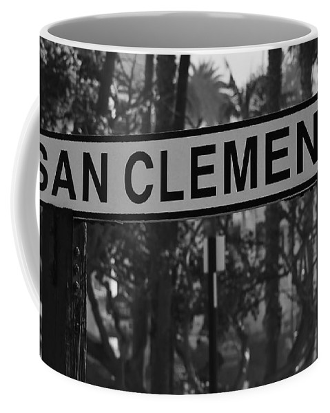 San Clemente Sign Coffee Mug featuring the photograph San Clemente Station Sign by Richard Cheski